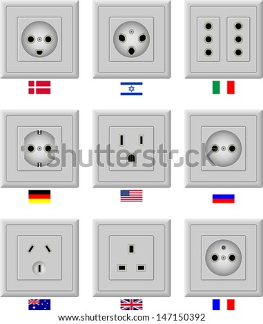 AC power sockets - stock vector