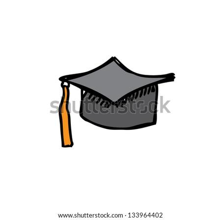 academic hat for graduate cartoon doodle - stock vector