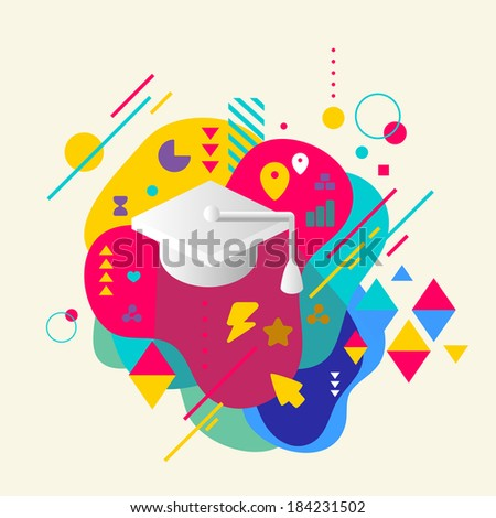 Academic hat on abstract colorful spotted background with different elements. Flat design. - stock vector