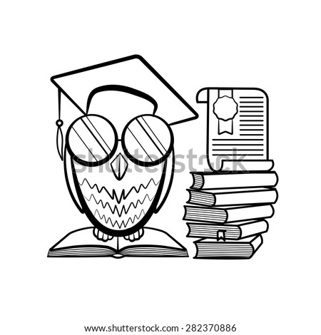 Academic owl outline vector illustration - stock vector