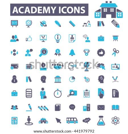 academy icons - stock vector