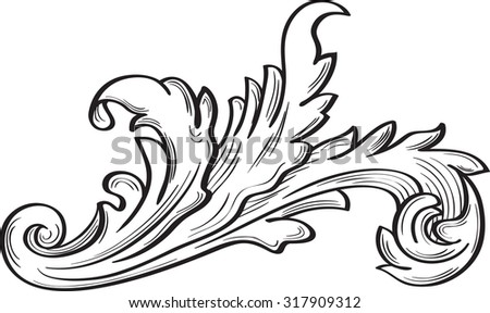 Acanthus scroll fine leaf on white - stock vector