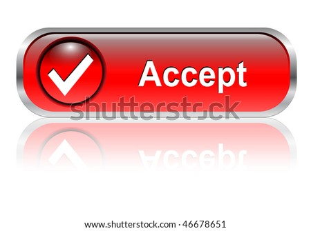 Accept, check symbol icon, button, red glossy with shadow - stock vector