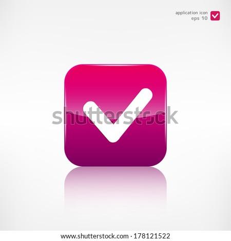 Accept icon. Yes, ok symbol. Application button. - stock vector