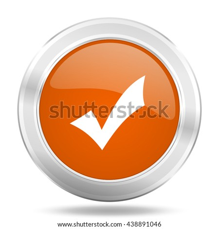 accept vector icon, orange circle metallic chrome internet button, web and mobile app illustration