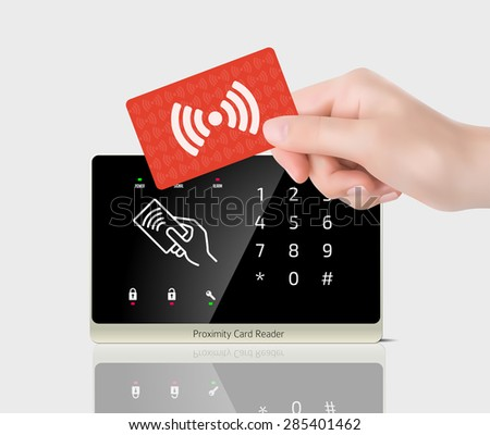 Access control - Proximity card and reader - stock vector