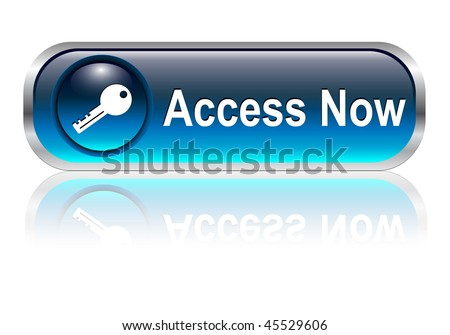 Access, enter icon, button, blue glossy with shadow, vector illustration - stock vector