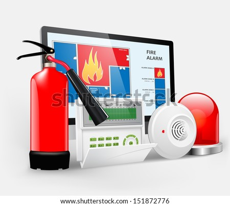 Access - Fire Alarm, Security system, Alarm zones, Security zones - stock vector