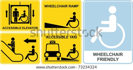 Accessible taxi, elevator, wheelchair ramp, escalator. Wheelchair friendly - set of vector icons. Yellow and black signs, isolated illustrations. - stock vector