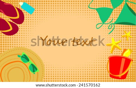 Accessories a woman on the beach sand - stock vector