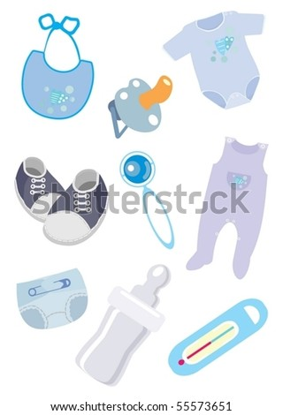 Accessories and clothes for the child icons - stock vector
