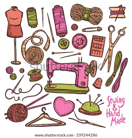 Accessories And Equipment For Sewing. Color Sketch Hand Drawn Set - stock vector