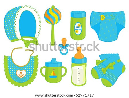 accessories for baby boy - stock vector