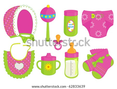 accessories for baby girl - stock vector