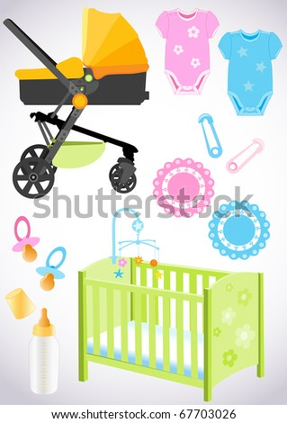 Accessories for the baby, design elements - stock vector