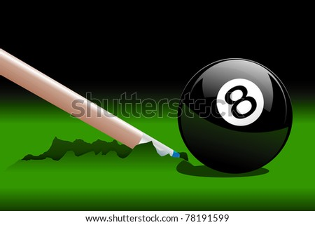 Accident during the drawing of playing billiards - stock vector