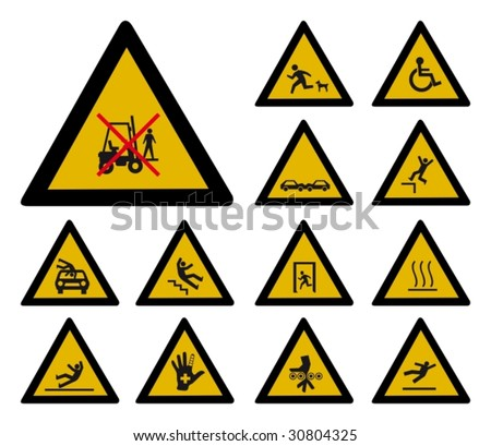 Accident warning sign - stock vector