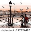 Accordionist playing on Pont des arts in Paris - vector illustration - stock vector
