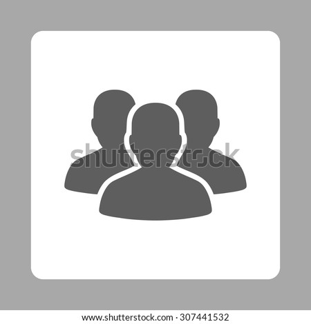Account Group vector icon. This flat rounded square button uses dark gray and white colors and isolated on a silver background. - stock vector