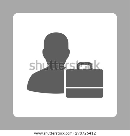 Accounter icon from Commerce Buttons OverColor Set. Vector style is dark gray and white colors, flat square rounded button, silver background.