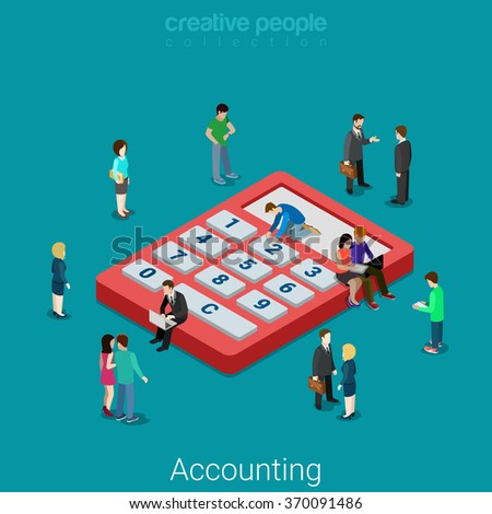 Accounting and finance analytics. Flat 3d isometry isometric business financial bank loan concept web vector illustration. Micro people and huge calculator. Creative people collection. - stock vector