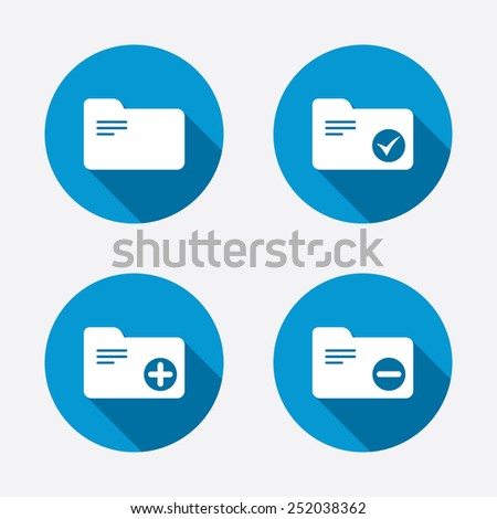 Accounting binders icons. Add or remove document folder symbol. Bookkeeping management with checkbox. Circle concept web buttons. Vector - stock vector