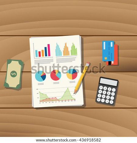 accounting business paper document work with pencil credit card money and calculator vector graphic illustration - stock vector