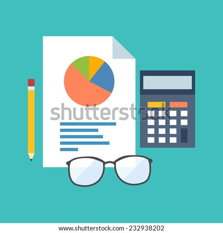 Accounting concept. Flat design stylish. Isolated on color background - stock vector