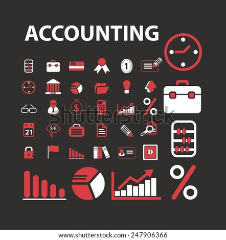 accounting, consulting, banking icons, signs, illustrations set, vector - stock vector