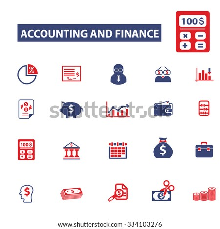 accounting, finance icons, signs vector concept set for infographics, mobile, website - stock vector