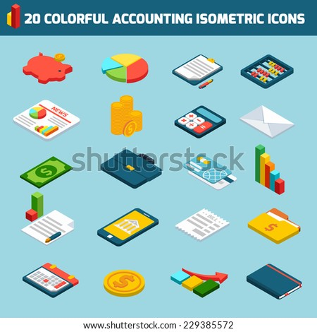 Accounting investments savings money exchange isometric icons set isolated vector illustration - stock vector