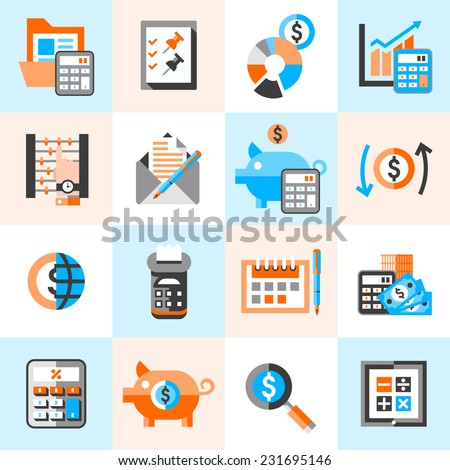 Accounting money finance banking budget investment icons set isolated vector illustration. - stock vector