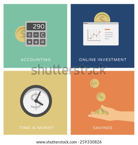 Accounting, online trading and investment services - set of flat design icons - stock vector