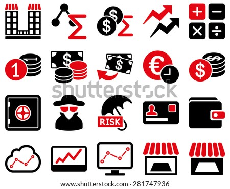Accounting service and trade business icon set. These flat bicolor symbols use intensive red and black colors. Vector images are isolated on a white background. Angles are rounded. - stock vector