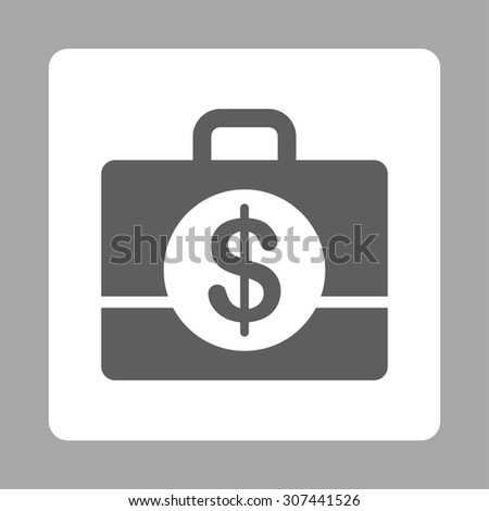 Accounting vector icon. This flat rounded square button uses dark gray and white colors and isolated on a silver background. - stock vector