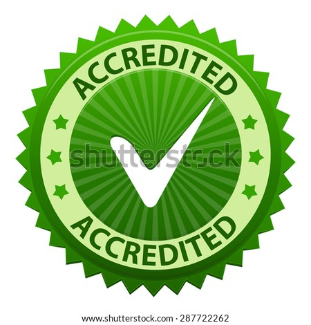 Accredited green label with tick icon isolated on white background. Vector illustration - stock vector
