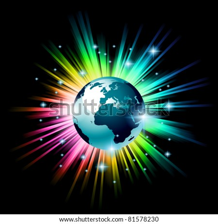 Accurate Earth Globe 3D illustration with a rainbow light explosion behind the planet, in the deep space full of brilliant stars. - stock vector