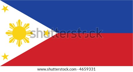 Accurate flag of the Philippines in terms of colours, size, proportion, and placement of elements. - stock vector