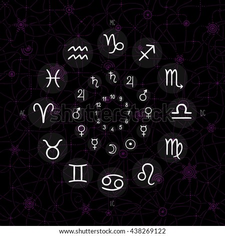 accurate horoscope - hand drawing of zodiac wheel with ancient ruling planet symbols on whimsical starry sky background - stock vector