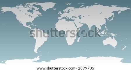 Accurate map of the world. Includes Antarctica. Maps to a sphere to make a globe accurately to latitude and longitude. Includes many islands -Hawaii, Galapagos, etc. Largest lakes and seas included. - stock vector
