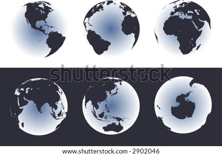 Accurate maps of the world on globes. Includes Antarctica. Also includes many islands - Hawaii, Aleutians, Galapagos, Maldives, Canary, etc. Lakes of the USA, Africa, Russia. - stock vector
