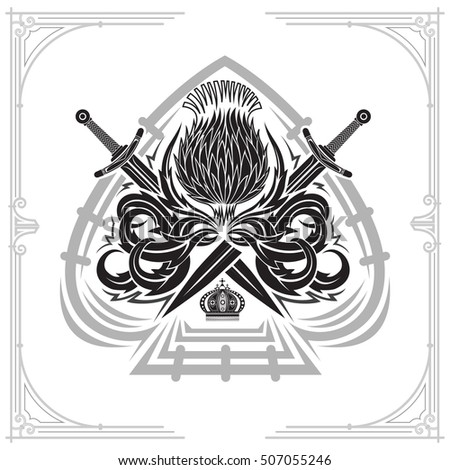 Ace Spades Form Thistle Floral Pattern Stock Vector 507787492 ...