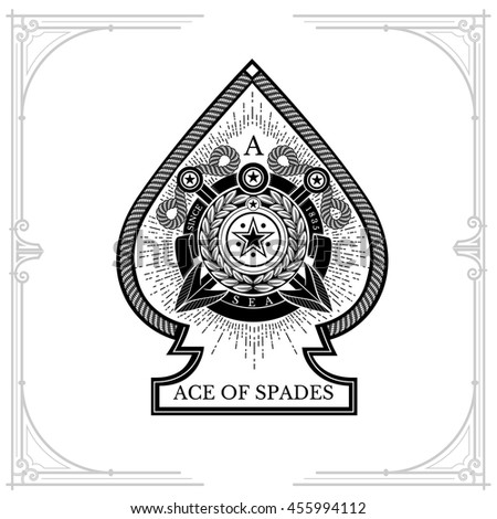 Ace of spades with round wreath in center and two harpoon cross inside. Sea vintage label on white - stock vector