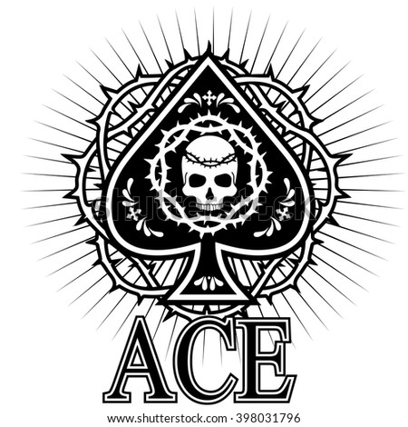 ace of spades with skull - stock vector