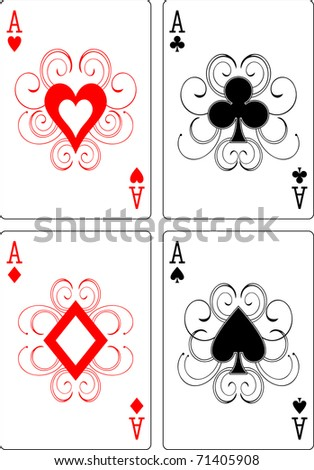 aces playing cards - stock vector