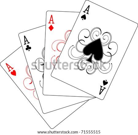 aces poker - stock vector