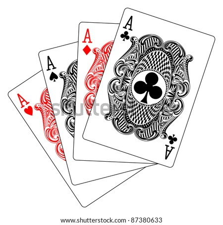 aces poker heart spade diamond club - stock vector