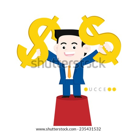 Achieve a goal: Making a lot of money. - stock vector