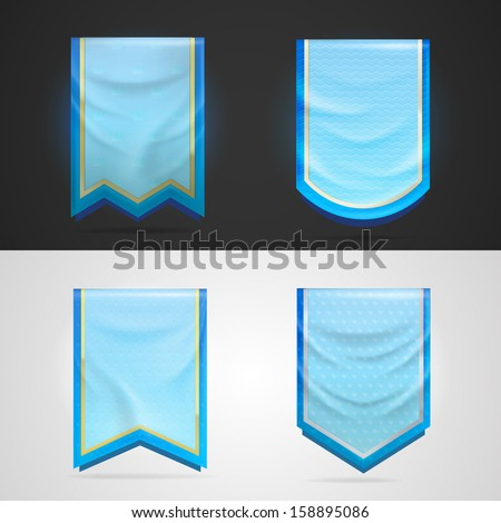 Achievement award blue pennant flag icon as insignia symbol, set of four shapes, eps10 vector - stock vector