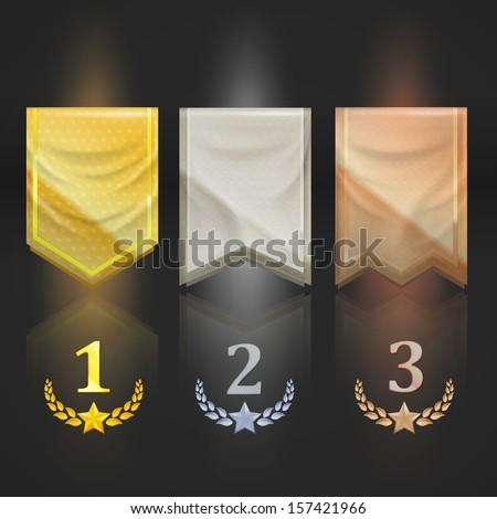 Achievement award pennant flag icon as insignia symbol, colored golden, silver, bronze, eps10 vector - stock vector